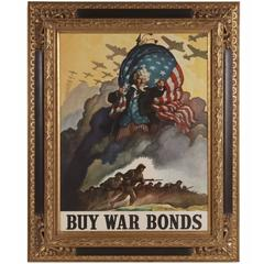 Striking and Rare WWII Poster by N.C Wyeth, with a Windswept Image of Uncle Sam