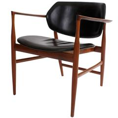 Ib Kofod-Larsen Rare 'Elizabeth' Armchair in Cuban Mahogany and Black Leather