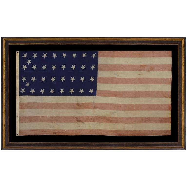 34 Star Civil War Period Flag with Unusual Woven Stripes and Press Dyed Stars For Sale