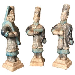 Important Ancient Chinese Figural Group Three GARDENERS, Ming Dynasty, 1368-1644