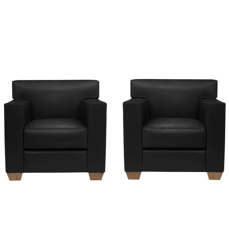 Bon Jean Michel Frank U0026 Hermès, A Pair Of Black Leather Armchairs, 21st Century