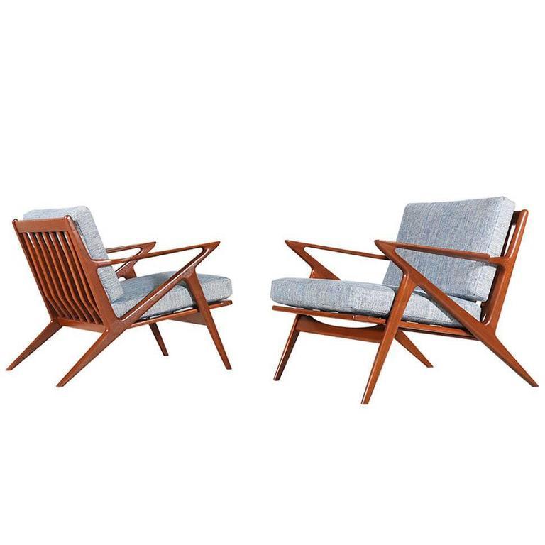 Poul Jensen Teak Z Lounge Chairs For Selig