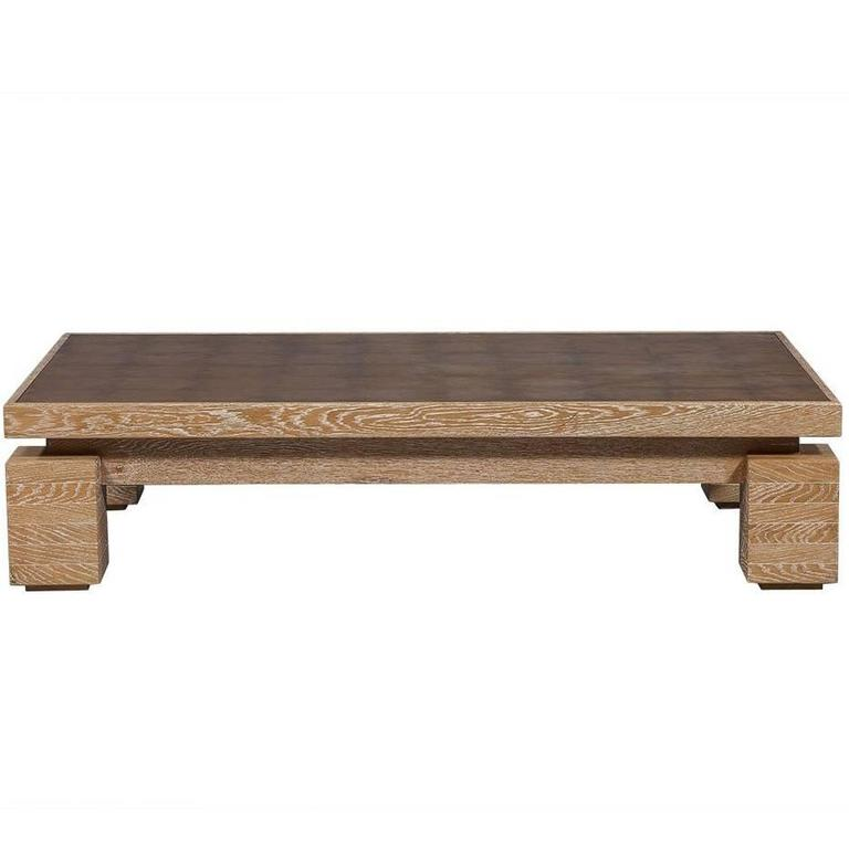 Phebe Modern Oak Timber Coffee Table Square Timber Top: Cerused Oak Cocktail Table With Gold Leaf Top At 1stdibs