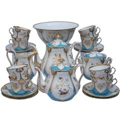 Richly Gold Decorated Old Paris Porcelain Tea Service, France, 1850