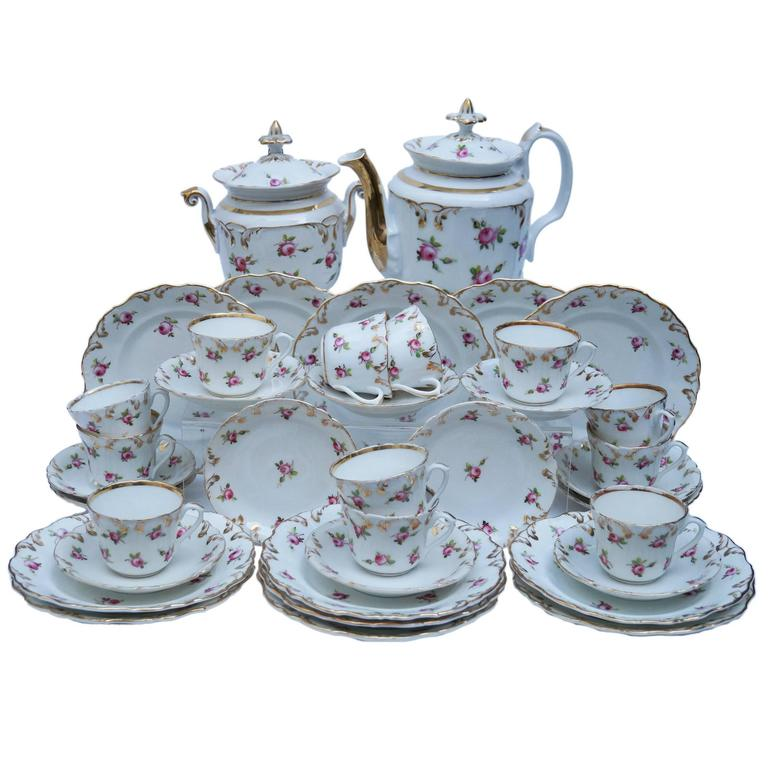 Fantastic Richly Decorated Old Paris Tea Service with Plates, France, 1850-1880