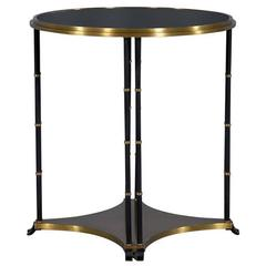 Black Round End Table with Brass Accents
