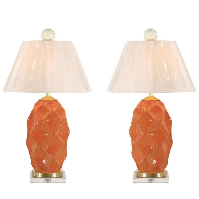 Dazzling Pair of Large-Scale Faceted Ceramic Lamps in Aged Orange