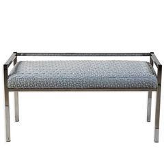 Mid-Century Chrome Bench in Marc Jacobs Ruffle Velvet