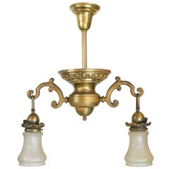 Neoclassical Floral Two-Arm Brass Fixture, circa 1910