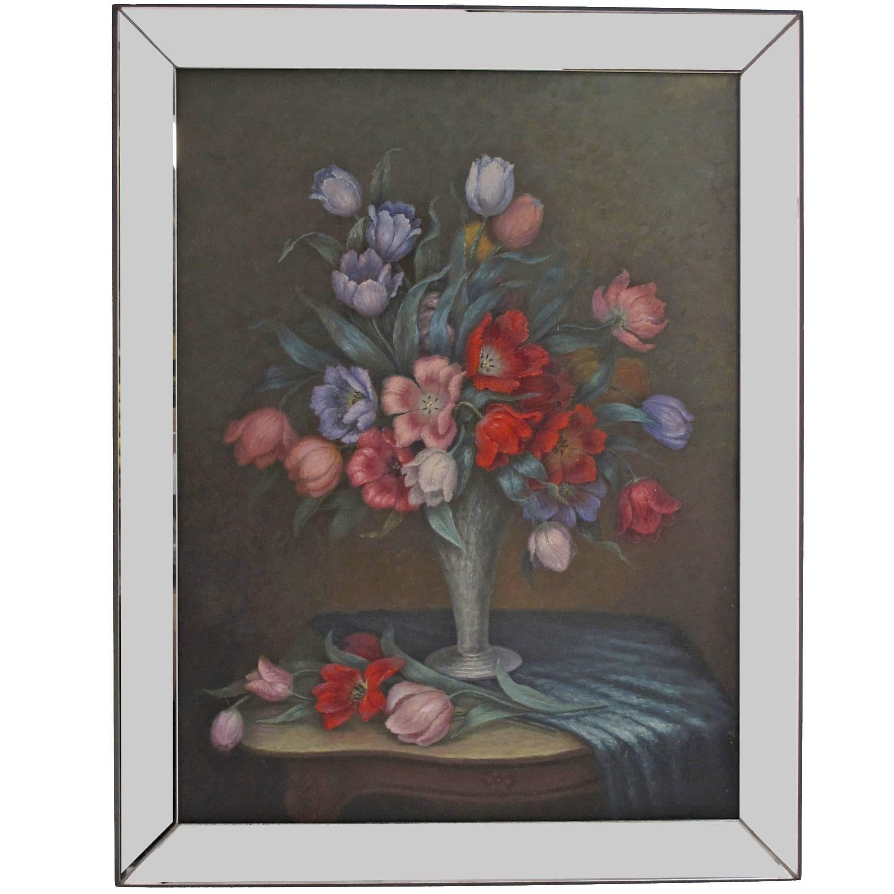 Large Floral Still Life Painting in Mirror Frame, American Circa 1940