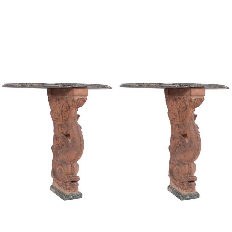 Pair of Italian Terracotta Dolphin Console Tables with Marble Tops