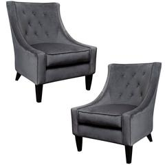 Pair of Charcoal Grey Velvet Lounge Chairs