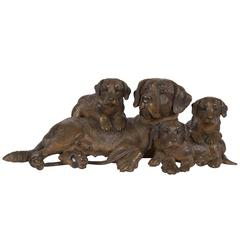 """Swiss """"Black Forest"""" Carved Dog Group, by Walter Mader, circa 1900"""