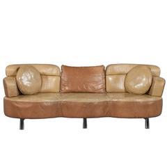 Original Retro Leather Sofa Circa 1960