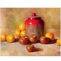 Ginger Jar, Persimmons and Oranges by Aaron Stills