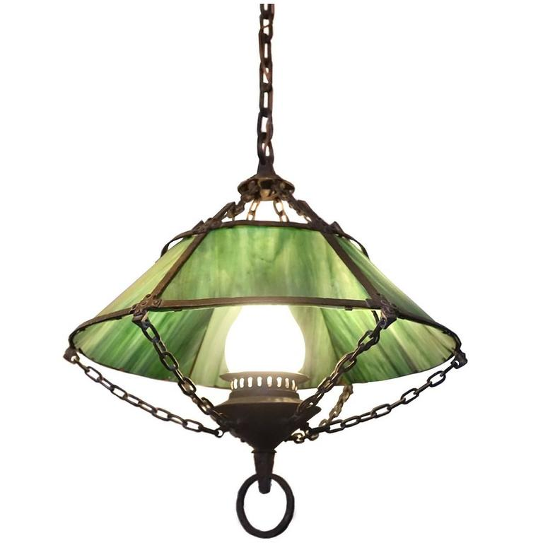 Arts and crafts slag glass chandelier circa 1920 for sale at 1stdibs beautiful handmade arts and crafts chandelier aloadofball Images