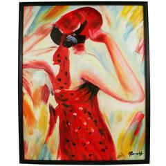 Fashionable Red Acrylic Painting