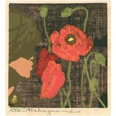 Tadashi Nakayama Japanese Woodblock Print Girl with Poppies