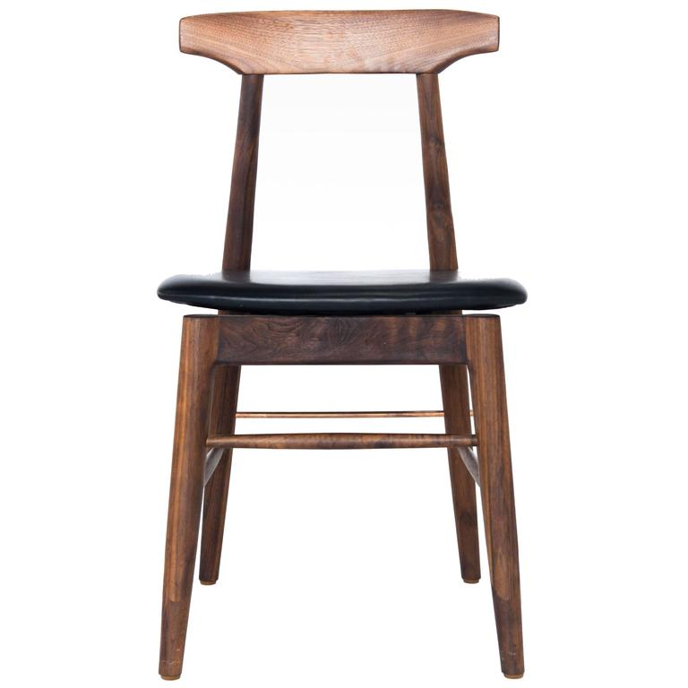 Walnut and Black Leather Sable Dining Chair For Sale