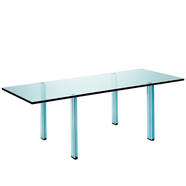 Teso Glass Table Designed by Renzo Piano in 1985 for Fontana Arte