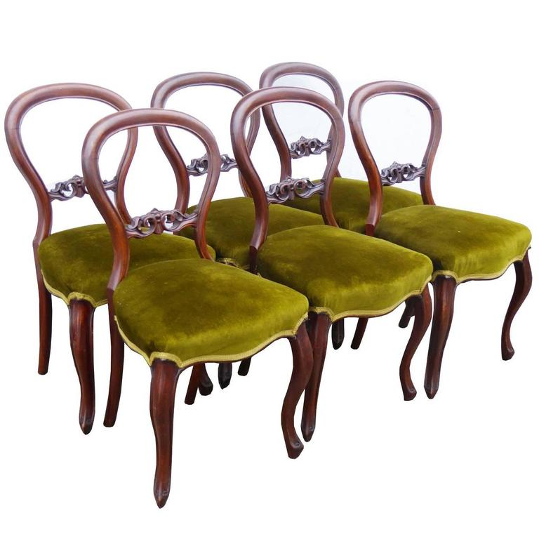 Set of Six Victorian Mahogany Dining Chairs For Sale at