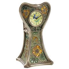 """Feuillâtre French Art Nouveau Enameled Silver """"Capucines"""" Clock"""
