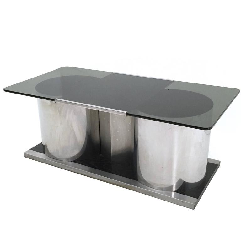 Italian Smoked Glass Coffee Table With Dry Bar 1970s For Sale At 1stdibs