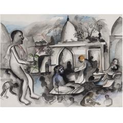 Bhupen Khakhar, 'Near the Temple', Watercolor, 1995