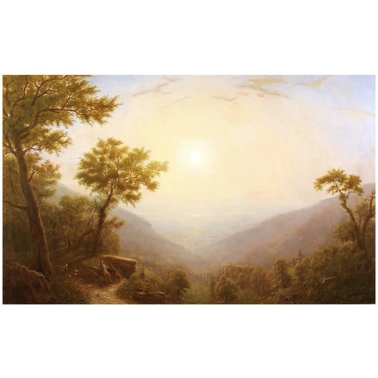 "Erik Koeppel Large Luminous Landscape Oil Painting, ""Sunrise Over The Hudson"""