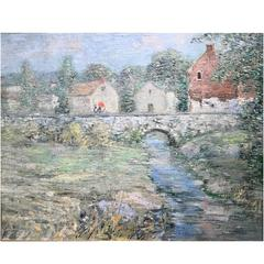 Paul Bernard King Pennsylvania Impressionist Oil Painting, Artists Bridge