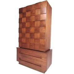 Mid-Century Modern Sculpted Front Armoire in the Style of Paul Evans