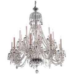 1960s Elegant Large Eighteen-Arm Crystal Chandelier with Draping Crystal Beading