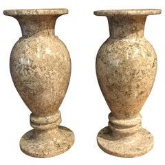 Pair of Travertine Vases, Brazil, Contemporary