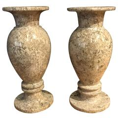 Pair of Travertine Vases, Brazil, Contemporary