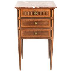 Antique Italian Inlaid Marble-Top Nightstand Circa 1910