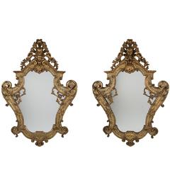 Pair of Venetian Lacca Povera and Polychrome Giltwood Mirrors