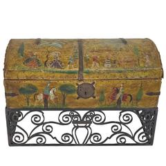 Salvador Corona Hand-Painted Leather Trunk with Wrought Iron Stand