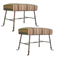 Pair of French, 1940s Gilt Iron Benches/Stools Attributed to Marc Duplantier