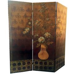 1890's, Antique Leather Mould Screen