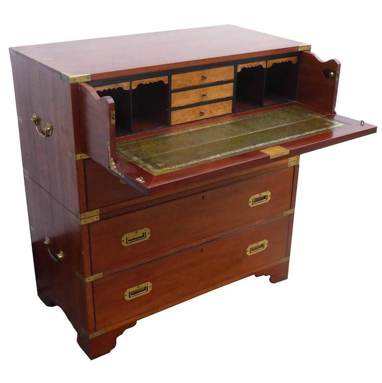 19th Century Mahogany Campaign Chest with Secretaire