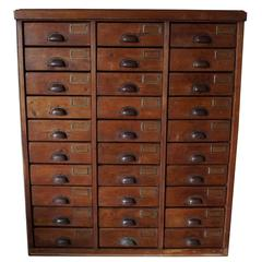 German Pine Apothecary Bank of Drawers, 1930s