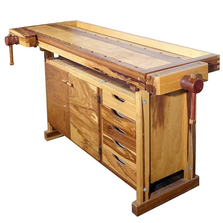 Beautiful Contrasting Wood Carpenters Work Bench 1