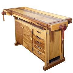 Beautiful Contrasting Wood Carpenters Work Bench