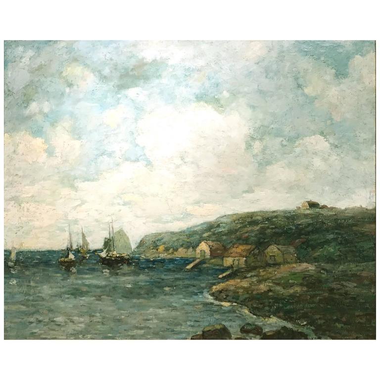 Paul Bernard King Coastal Marine Oil Painting, Harbor Scene For Sale