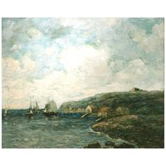 Paul Bernard King Coastal Marine Oil Painting, Harbor Scene