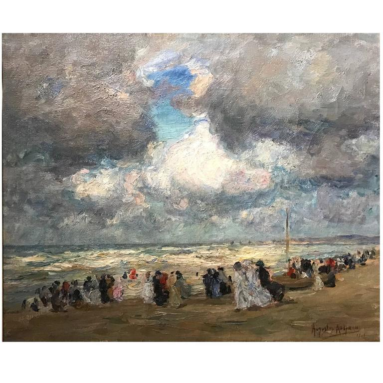 "Augustus B. Koopman Coastal Impressionist Oil Painting ""A Day at the Beach"" 1914 For Sale"