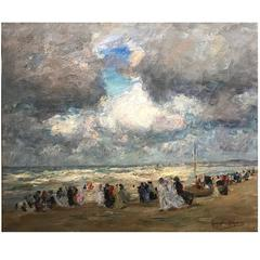 "Augustus B. Koopman Coastal Impressionist Oil Painting ""A Day at the Beach"" 1914"