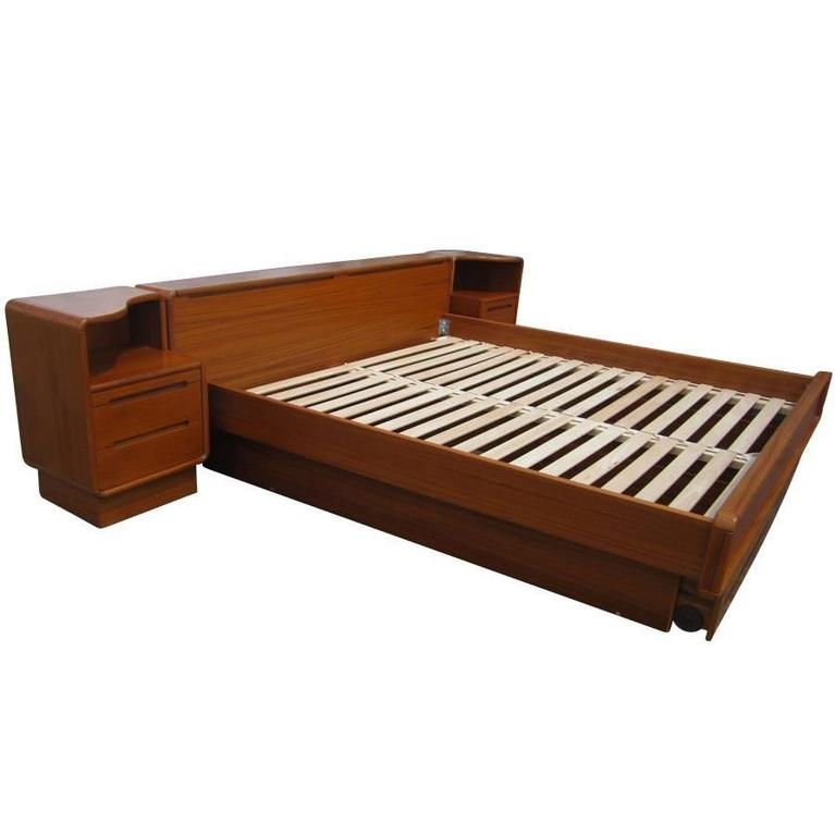 Vintage Mid Century Danish Teak King Size Platform Bed With