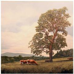 Erick Ingraham Oil Painting of a NH Landscape with Cows, Pastoral Monadnock