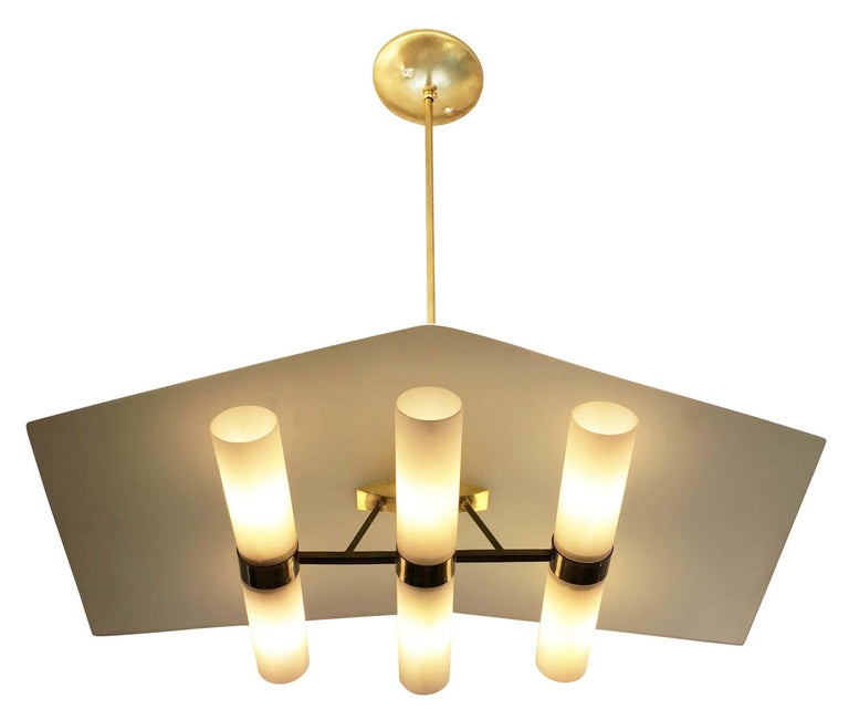 "Brass and Glass ""Casa"" Chandelier by Stilnovo, Italy, 1960s 3"